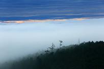 山峦树林晨雾朝阳