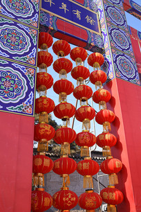 新年文化节大红灯笼墙装饰建筑