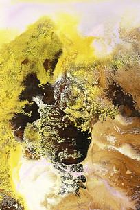 黄色调水墨意境山水抽象画