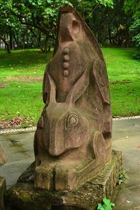 十二生肖兔石雕雕塑