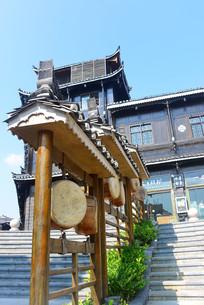 贵州西江千户苗寨皮鼓装饰