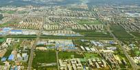 北京顺义地区潮白河及城市俯拍