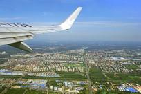 北京顺义地区潮白河及城市航拍