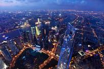 俯瞰上海城市夜景