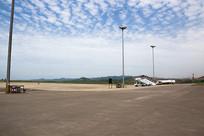 万州机场蓝天白云风光