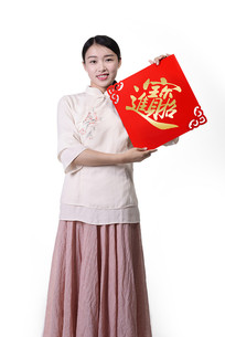 中式美女恭祝新春