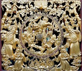 佛山祖庙镂空双面金漆木雕屏风