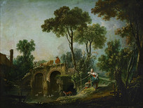 河边风景油画