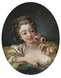拿着一束玫瑰花的年轻女子油画