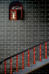 成都洛带古镇禹王宫楼梯和窗户