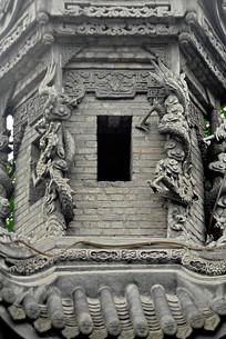 成都洛带古镇字库塔云龙砖雕