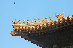 北京故宫庑殿顶屋脊
