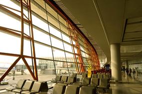 北京机场候机厅座椅及玻璃幕墙