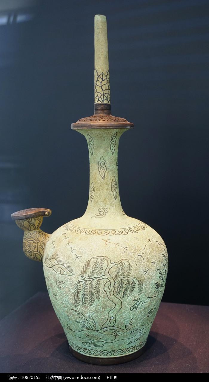韩国高丽青铜蒲柳水禽纹净瓶图片