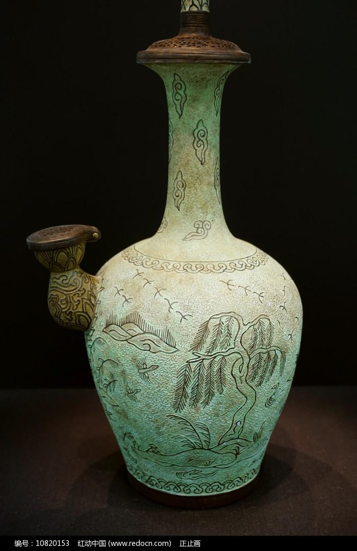 韩国青铜入丝蒲柳水禽文净瓶图片