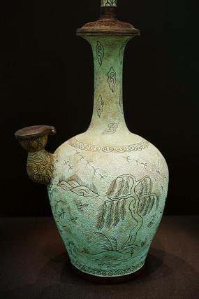 韩国青铜入丝蒲柳水禽文净瓶