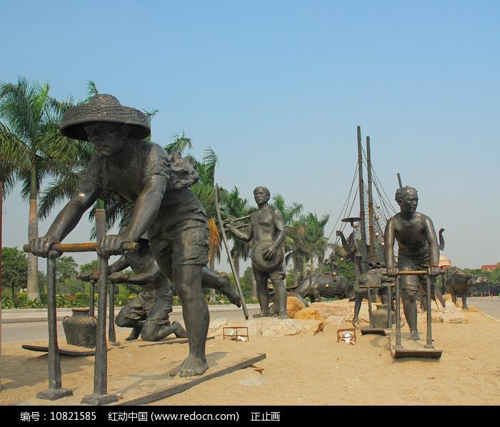 深圳海上田园 骑泥马渔民雕塑图片