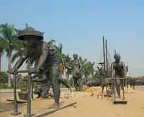 深圳海上田园 骑泥马渔民雕塑
