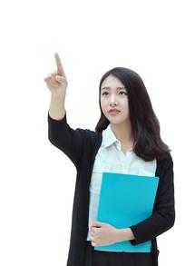 手指触摸空中电子屏的女白领