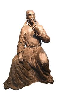 唐代大诗人杜甫抠图雕塑塑像