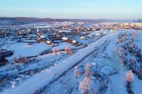 大兴安岭冬季森林小镇雪景
