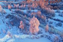 大兴安岭雪原树林朝阳晨光