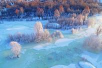 航拍冰河红树林风光