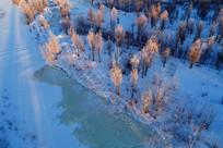 航拍大兴安岭红树林雾凇