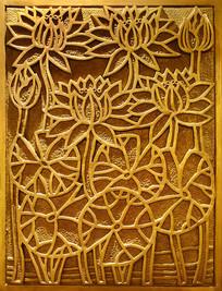 荷花浮雕装饰画