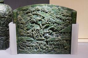 清朝时期碧玉雕耕种屏