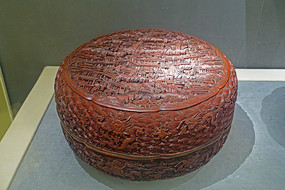 清代雕漆山水楼阁人物纹盒
