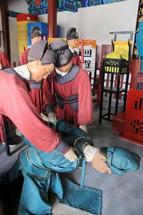 古代庭审犯人蜡像