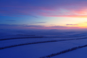 雪原农田浓郁的夕阳
