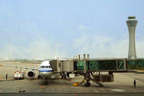 北京机场客机及塔台