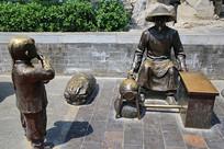 传统手艺爆米花铜雕像