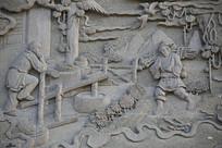 佛祖故事浮雕砍柴下山