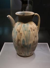 唐代文物长沙窑彩绘执壶