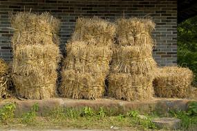 成都黄龙溪古镇农家的柴禾堆