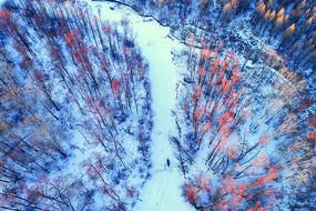 航拍林海雪原森林风光