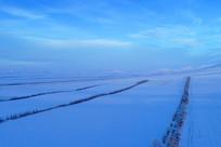 呼伦贝尔冬季田野农田(航拍)