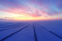 呼伦贝尔雪域雪原暮色苍茫