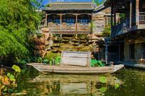 千山老房子建筑与潭溪小木船