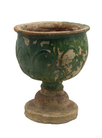 宋代文物吉州窑绿釉莲瓣纹高足香炉