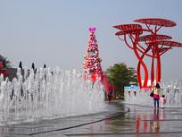 欢乐海岸狂欢广场雕塑和喷泉