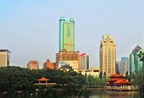 深圳荔枝公园荔湖及城市建筑