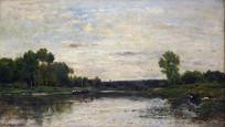 溪水湖畔油画