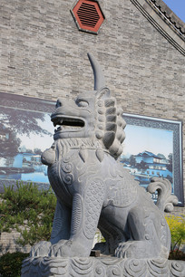 独角兽石雕像