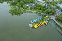 航拍大明湖游船码头