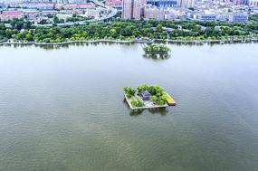 鸟瞰大明湖湖心亭