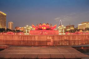 泉城广场音乐喷泉夜景